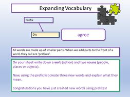 Vocabulary Prefixes and Suffixes