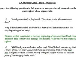 A Christmas Carol Stave 1 Questions with Suggested Answers | Teaching Resources