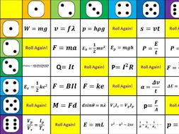New AQA Physics Equation Revision - Dice game
