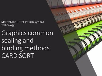 Graphics common sealing and binding methods CARD SORT