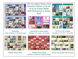 Phonics Final Consonant Clusters st-lk-sk-rk-lp-sp 6 Game Bundle