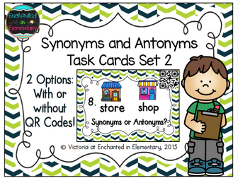 Synonyms and antonyms task cards set 2 by enchantedinelementary synonyms and antonyms task cards set 2 by enchantedinelementary teaching resources tes stopboris Image collections