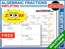GCSE Revision (Algebraic Fractions: Simplifying)