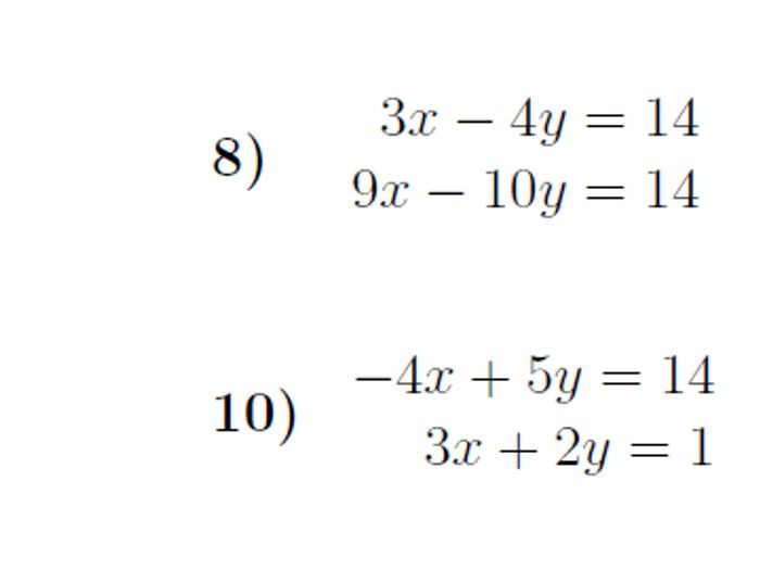 Simultaneous Equations \u2013 Elimination worksheet (with solutions)