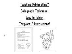 printmaking tutorial koala template instructions by