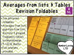 Averages from Lists & Tables Revision Foldables
