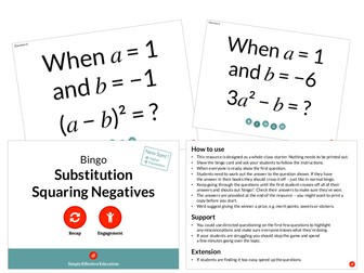 Substitution Squaring Negatives (Bingo)