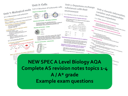 CONCISE A* AS Biology AQA Mark Scheme Revision Notes (new spec)