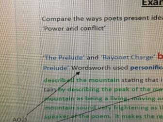 Poetry AQA Power and conflict(new spec.2017) question with model answer and commentary