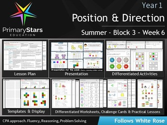 YEAR 1 - Position and direction Geometry - White Rose - WEEK 6 - Block 3 - Summer- Differentiated