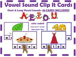 Short & Long Vowel Sound Clip-It Cards