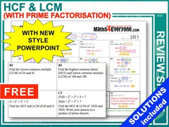 GCSE 9-1 Revision (HCF and LCM)