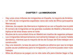 LA INMIGRACION FACT SHEET - A LEVEL SPANISH AQA
