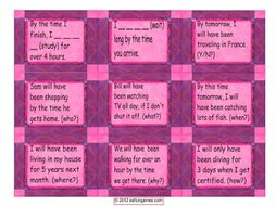 Future Perfect Continuous Tense Cards 4 Pages = 36 Cards