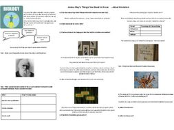 James May's Things You Need to Know   ...about Evolution- Worksheet to support the Documentary