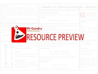AQA Chapter 4: Chemical Changes - Metals Revision Sheet