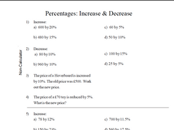 Gcse Maths Percentage Increase Decrease Worksheet Revision By