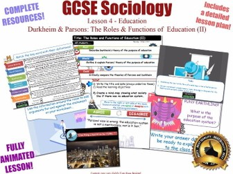 Durkheim & Parsons - Roles & Functions of Education L4/20 [ AQA GCSE Sociology - 8192 ] NEW SPEC KS4