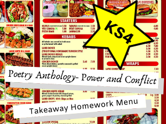 AQA Poetry Anthology-Power and Conflict KS4 Takeaway Homework Menu