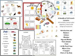 10  French Lessons plus all resources, Basic topics KS1/2