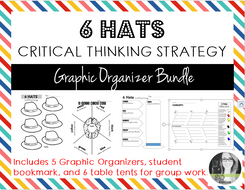 6 Hats Critical Thinking Strategy Graphic Organizers