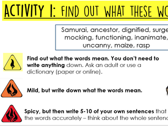 Year 5/6: Whole Class Reading - Land of Roar 6-8 scary vocabulary retrieval
