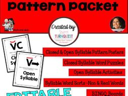 Closed and Open Syllable Activity Packet