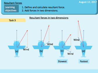 Forces in motion: Resultant forces, adding force vectors