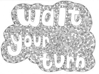 Wait Your Turn: Classroom Rules Colouring Page