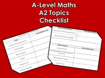 A Level Maths (2017) A2 Topics Checklist