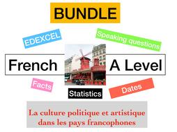 French - A Level - La culture politique et artistique dans les pays francophones  (speaking mat : facts - statistics)