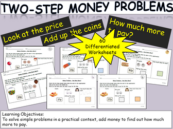 Money: Two-Step Money Problems, Add and Subtract, Count up to or back
