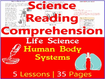 Life Science Reading Comprehension Passages   Human Body Systems   Grade 5-6