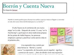 Spanish New Year's Cultural Reading and Goal Setting Activity- Borrón y cuenta nueva