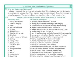 Cheaters and Dishonesty Explanation-Definitions