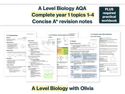 CONCISE A* AS Biology AQA Mark Scheme Revision Notes + required practical exam questions (new spec)