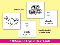 Spanish-English Vocabulary-Building Activities & Flash Cards 1 {Bundle}