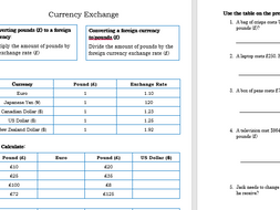 gcse mathsfunctional skills currency exchange worksheet by  gcse mathsfunctional skills currency exchange worksheet by derrybeg   teaching resources  tes