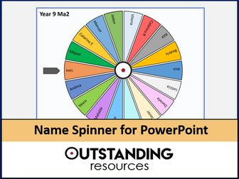 Random Name Spinner (PowerPoint slide add in feature)