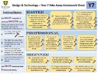 KS3 Design & Technology Homework Takeaway Sheets