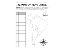 Countries of South America A3 Map Worksheet