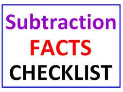 Subtraction Facts CHECKLIST (100 Facts)
