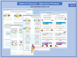 Year 4- Week 2 Addition and Subtraction Differentiated Worksheets- White Rose Style