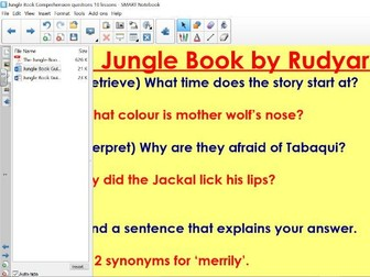 Jungle Book 10 comprehension lessons with plans and answers. See attachments in smartbord