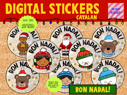 Digital Stickers - Bon Nadal - Catalan - Merry Christmas  Seesaw Google