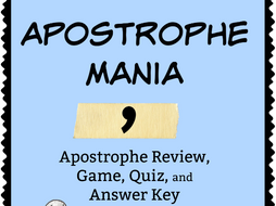 Apostrophe Mania! Review, Game, Quiz, and Keys