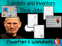 Scientists and Inventors   -  Steve Jobs PowerPoint and Worksheets