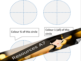 KS1 Fractions, Numbers, Time -  Basic colour in worksheet