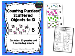 Counting Puzzles Set 1: Scattered Objects to 10