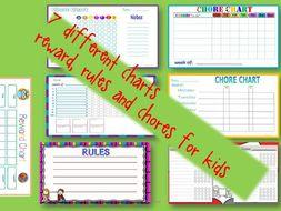 Chore charts, rule and reward charts